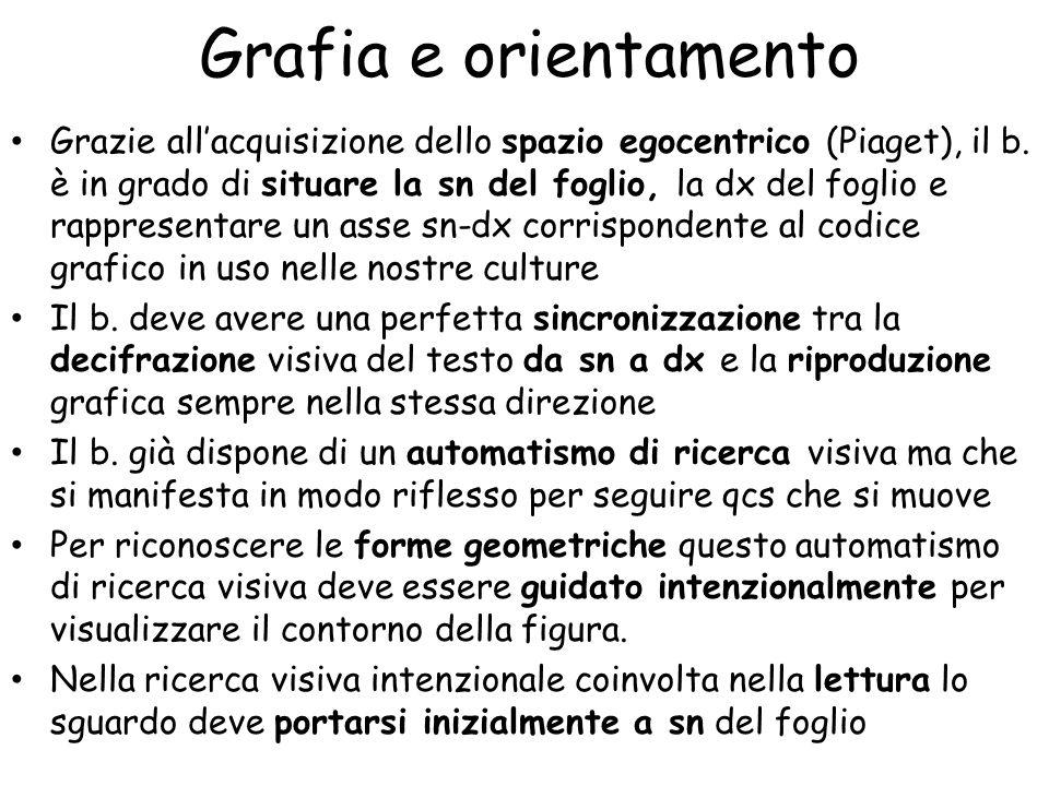 Grafia e orientamento Grazie all'acquisizione dello spazio egocentrico (Piaget), il b.