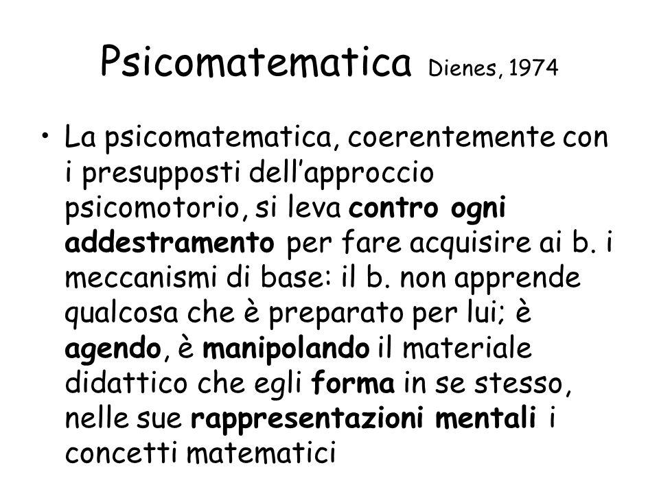Psicomatematica Dienes, 1974 La psicomatematica, coerentemente con i presupposti dell'approccio psicomotorio, si leva contro ogni addestramento per fare acquisire ai b.