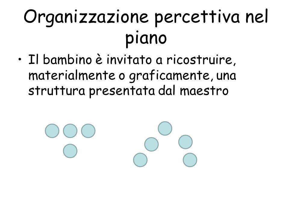 Organizzazione percettiva nel piano Il bambino è invitato a ricostruire, materialmente o graficamente, una struttura presentata dal maestro