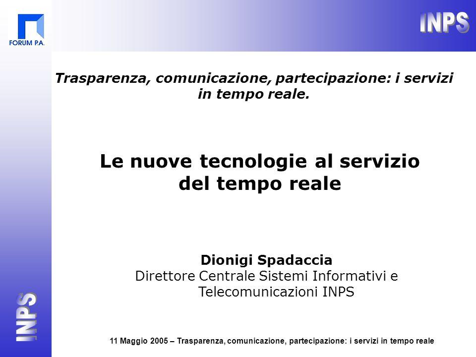 11 Maggio 2005 – Trasparenza, comunicazione, partecipazione: i servizi in tempo reale Le nuove tecnologie al servizio del tempo reale Dionigi Spadacci