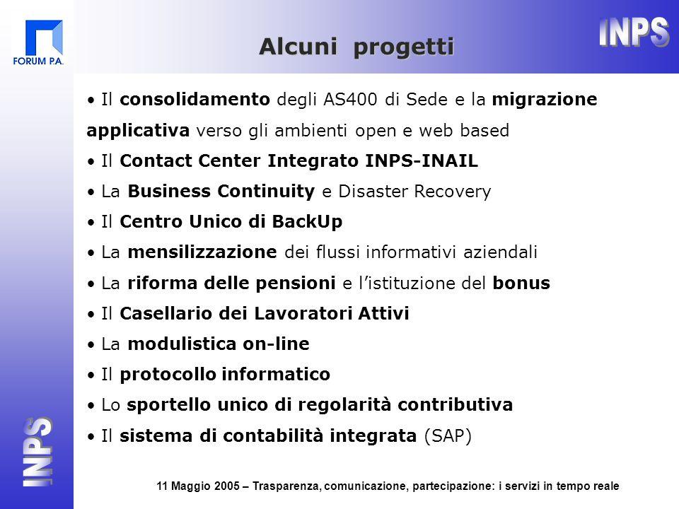 11 Maggio 2005 – Trasparenza, comunicazione, partecipazione: i servizi in tempo reale Il consolidamento degli AS400 di Sede e la migrazione applicativ
