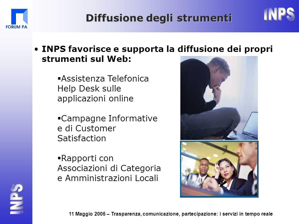 11 Maggio 2005 – Trasparenza, comunicazione, partecipazione: i servizi in tempo reale Diffusione degli strumenti INPS favorisce e supporta la diffusio