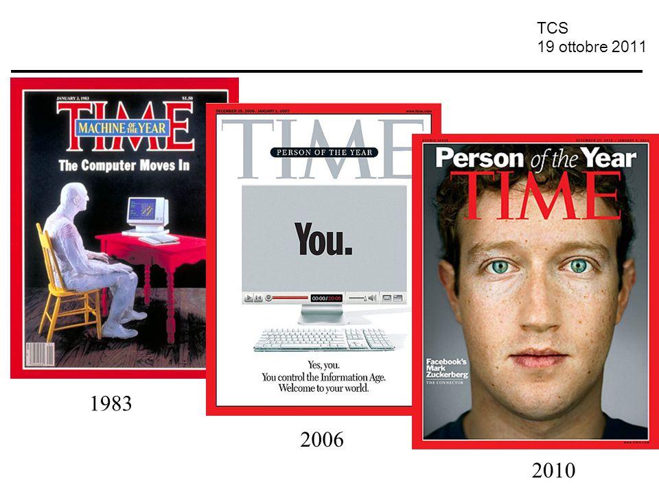 TCS 19 ottobre 2011 19 Ottobre 2011 Convergenza al digitale Convergenza dei codici Cambiamento di stile e linguaggio: –ipertestualità –multimedialità –Interattività (interazione uomo-macchina)