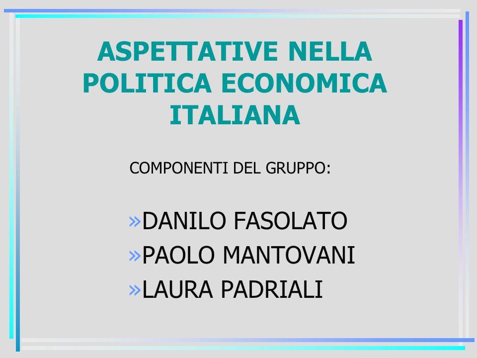 ASPETTATIVE NELLA POLITICA ECONOMICA ITALIANA COMPONENTI DEL GRUPPO: »DANILO FASOLATO »PAOLO MANTOVANI »LAURA PADRIALI