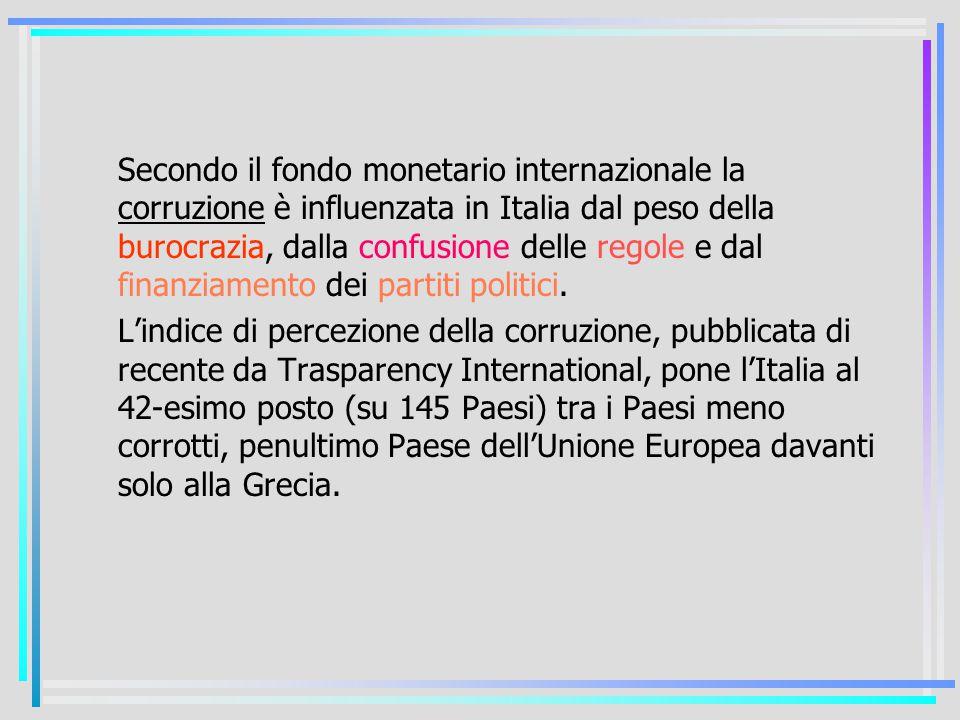 Secondo il fondo monetario internazionale la corruzione è influenzata in Italia dal peso della burocrazia, dalla confusione delle regole e dal finanziamento dei partiti politici.