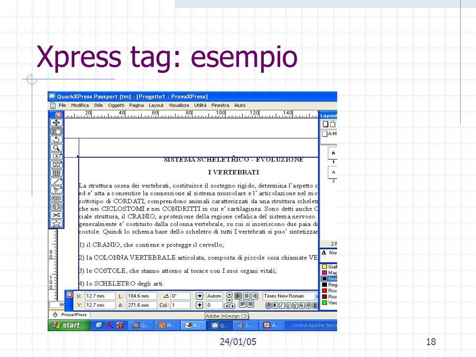 24/01/0518 Xpress tag: esempio