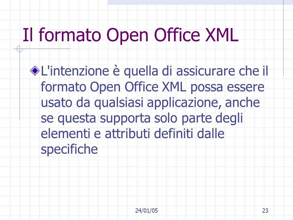 24/01/0523 Il formato Open Office XML L intenzione è quella di assicurare che il formato Open Office XML possa essere usato da qualsiasi applicazione, anche se questa supporta solo parte degli elementi e attributi definiti dalle specifiche