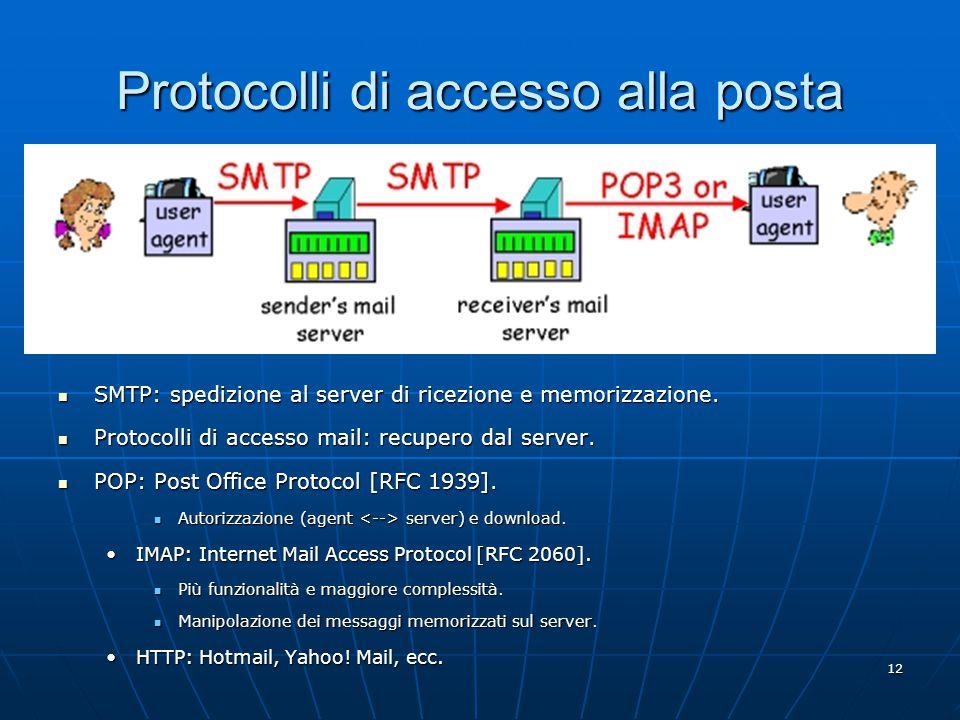 12 Protocolli di accesso alla posta SMTP: spedizione al server di ricezione e memorizzazione.