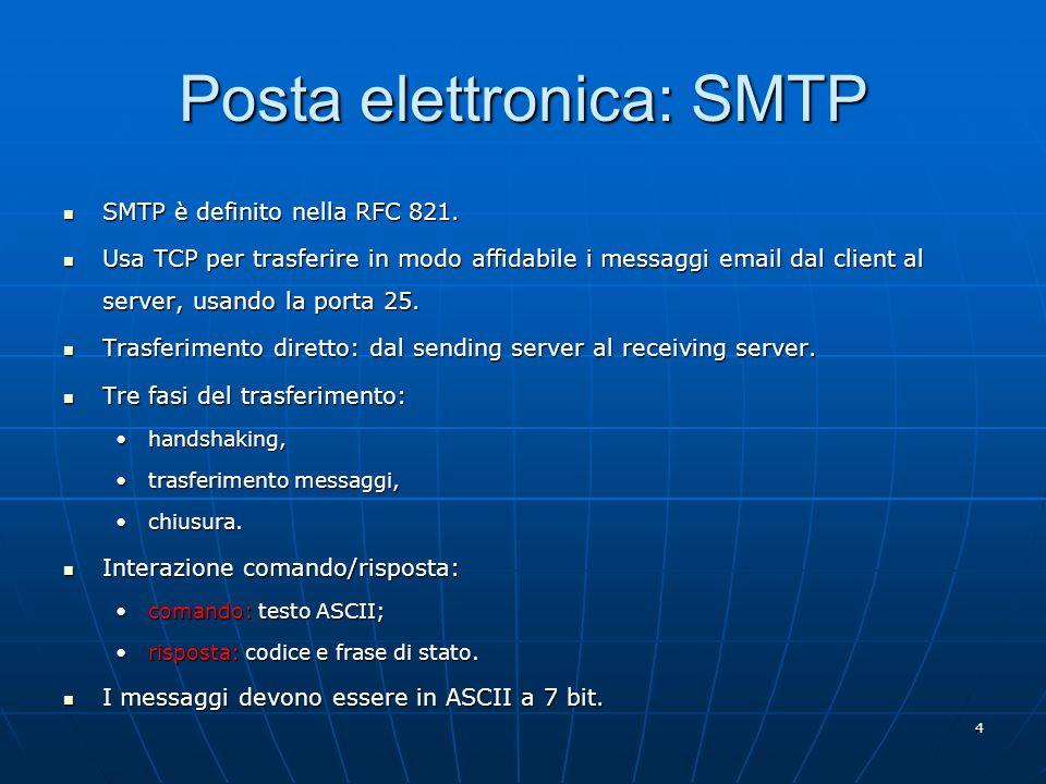 4 Posta elettronica: SMTP SMTP è definito nella RFC 821.