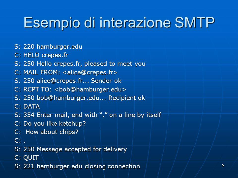 6 Prova di interazione SMTP telnet servername 25 telnet servername 25 Aspettare la risposta 220 dal server.