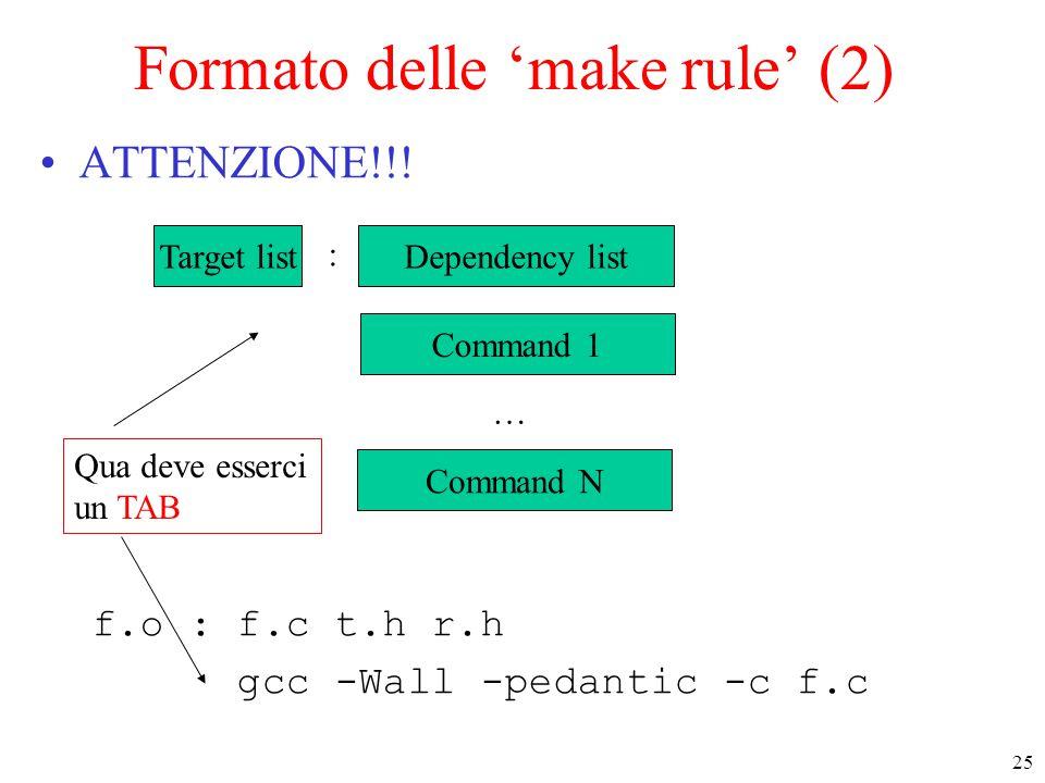 25 Formato delle 'make rule' (2) ATTENZIONE!!! f.o : f.c t.h r.h gcc -Wall -pedantic -c f.c Target list : Command 1 Dependency list Command N … Qua de