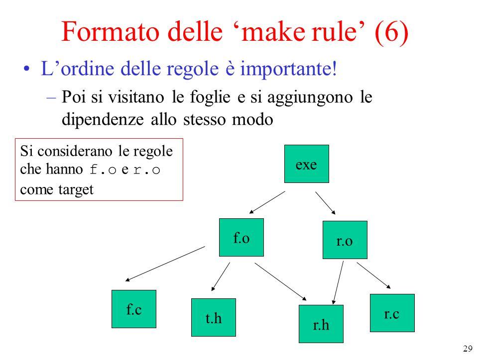 29 Si considerano le regole che hanno f.o e r.o come target f.c t.h r.h r.c r.o exe f.o Formato delle 'make rule' (6) L'ordine delle regole è importan