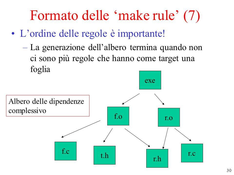 30 Albero delle dipendenze complessivo f.c t.h r.h r.c r.o exe f.o Formato delle 'make rule' (7) L'ordine delle regole è importante! –La generazione d