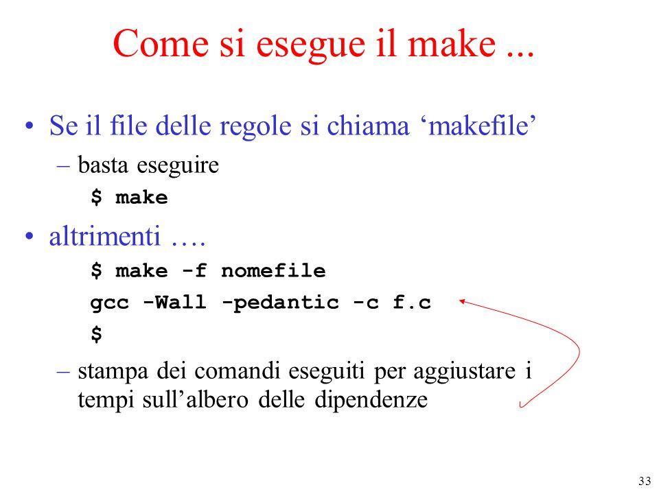 33 Come si esegue il make... Se il file delle regole si chiama 'makefile' –basta eseguire $ make altrimenti …. $ make -f nomefile gcc -Wall -pedantic