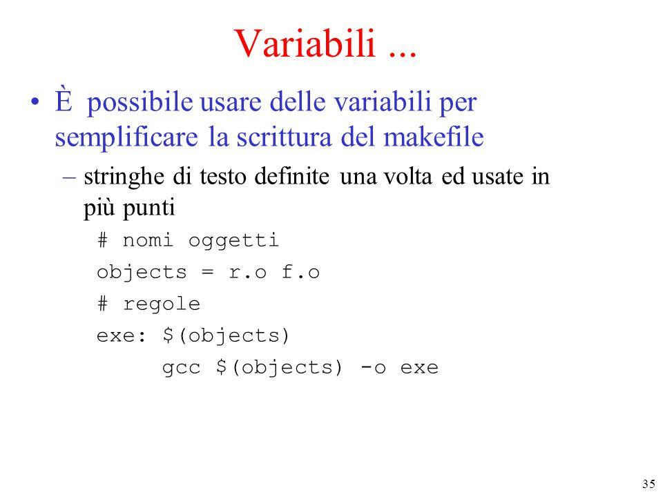 35 Variabili... È possibile usare delle variabili per semplificare la scrittura del makefile –stringhe di testo definite una volta ed usate in più pun