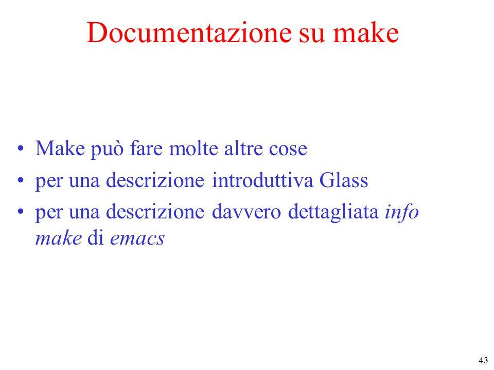 43 Documentazione su make Make può fare molte altre cose per una descrizione introduttiva Glass per una descrizione davvero dettagliata info make di e