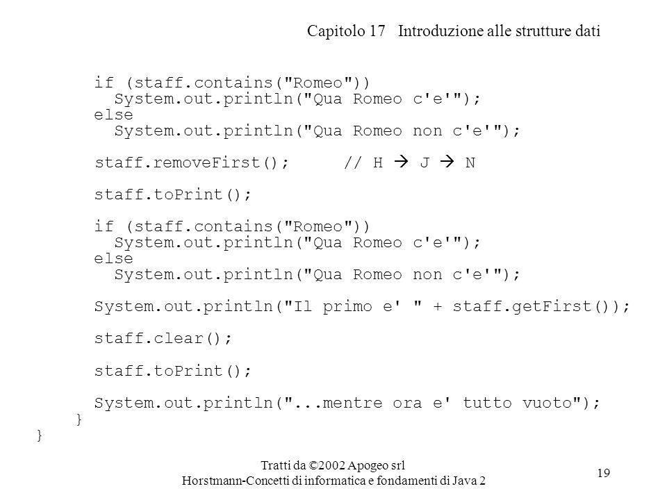 Capitolo 17 Introduzione alle strutture dati Tratti da ©2002 Apogeo srl Horstmann-Concetti di informatica e fondamenti di Java 2 19 if (staff.contains