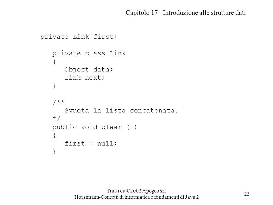 Capitolo 17 Introduzione alle strutture dati Tratti da ©2002 Apogeo srl Horstmann-Concetti di informatica e fondamenti di Java 2 23 private Link first