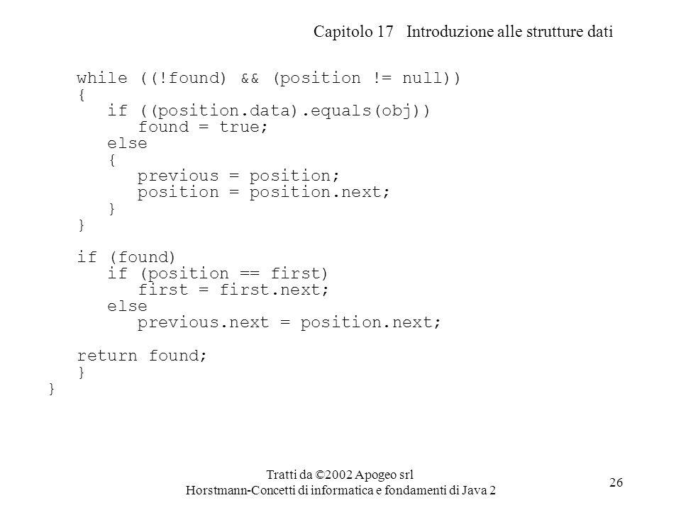 Capitolo 17 Introduzione alle strutture dati Tratti da ©2002 Apogeo srl Horstmann-Concetti di informatica e fondamenti di Java 2 26 while ((!found) &&