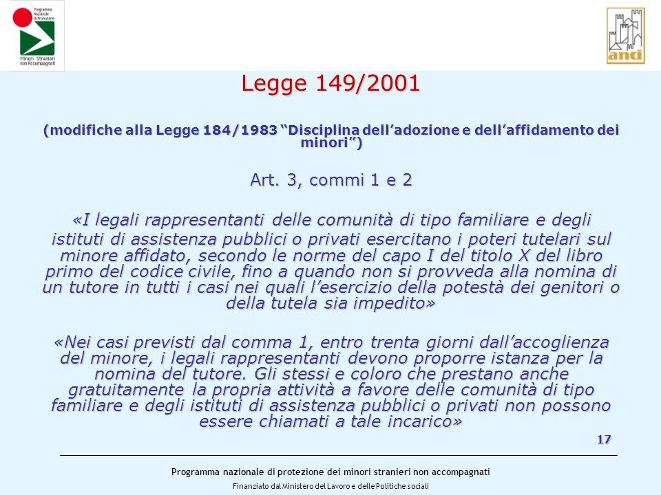 Programma nazionale di protezione dei minori stranieri non accompagnati Finanziato dal Ministero del Lavoro e delle Politiche sociali Legge 149/2001 (modifiche alla Legge 184/1983 Disciplina dell'adozione e dell'affidamento dei minori ) Art.