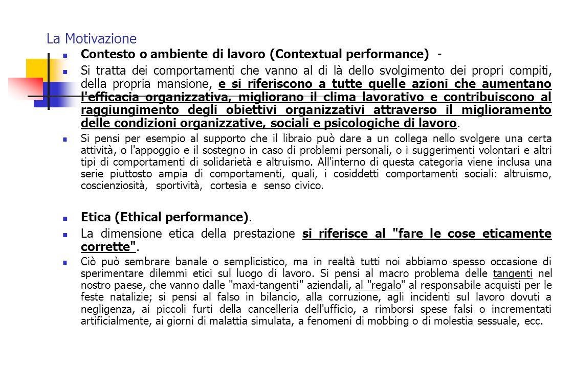 La Motivazione Contesto o ambiente di lavoro (Contextual performance) - Si tratta dei comportamenti che vanno al di là dello svolgimento dei propri co