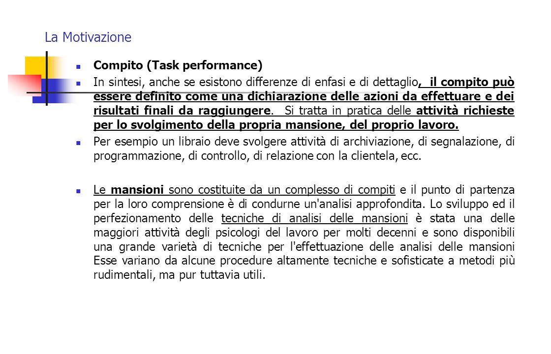 La Motivazione Compito (Task performance) In sintesi, anche se esistono differenze di enfasi e di dettaglio, il compito può essere definito come una d