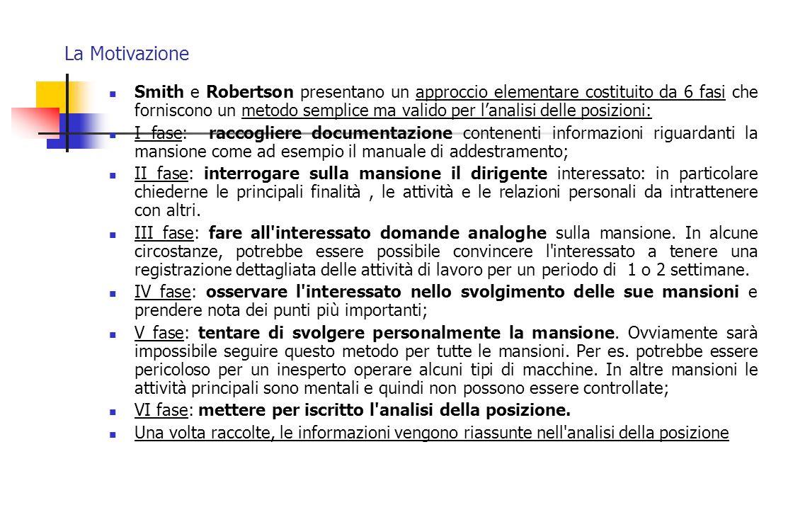 La Motivazione Smith e Robertson presentano un approccio elementare costituito da 6 fasi che forniscono un metodo semplice ma valido per l'analisi del