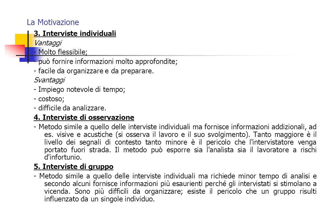 La Motivazione 3. Interviste individuali Vantaggi - Molto flessibile; - può fornire informazioni molto approfondite; - facile da organizzare e da prep