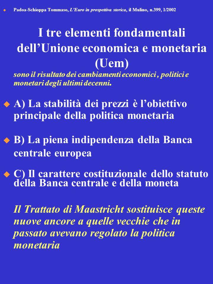  Padoa-Schioppa Tommaso, L'Euro in prospettiva storica, il Mulino, n.399, 1/2002 I tre elementi fondamentali dell'Unione economica e monetaria (Uem) sono il risultato dei cambiamenti economici, politici e monetari degli ultimi decenni.