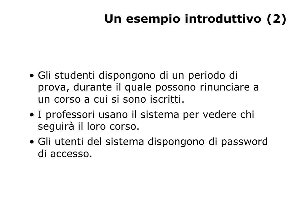 Un esempio introduttivo (2) Gli studenti dispongono di un periodo di prova, durante il quale possono rinunciare a un corso a cui si sono iscritti. I p