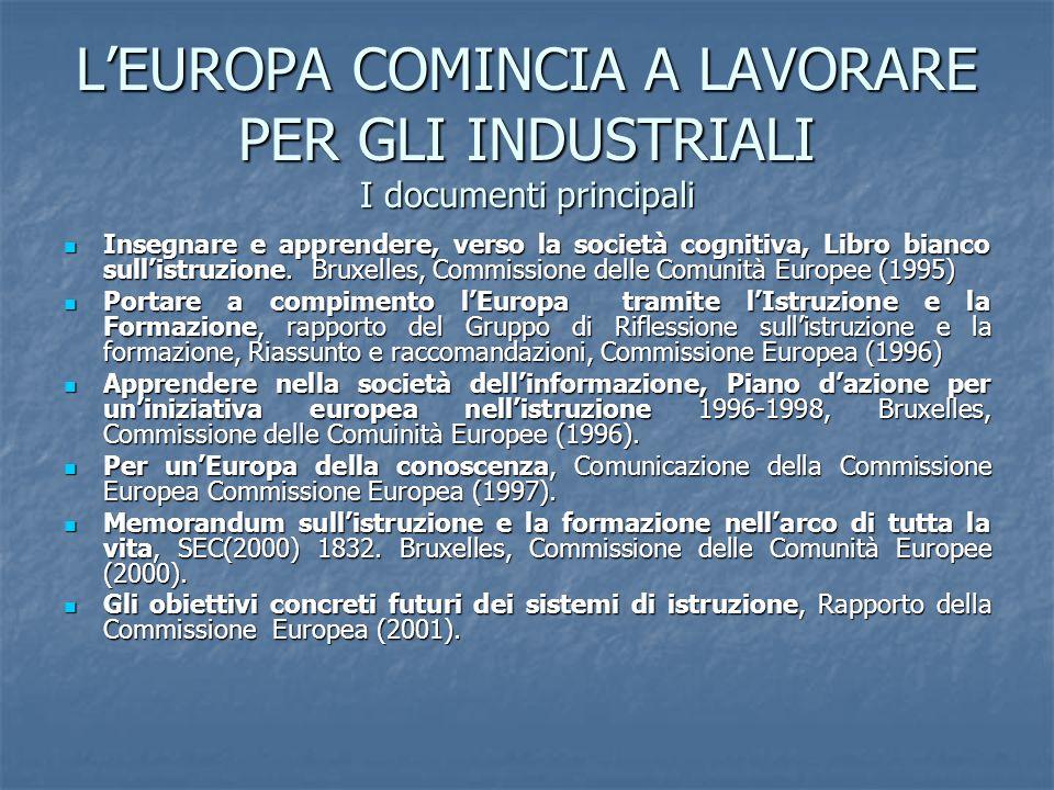 L'EUROPA COMINCIA A LAVORARE PER GLI INDUSTRIALI I documenti principali Insegnare e apprendere, verso la società cognitiva, Libro bianco sull'istruzione.