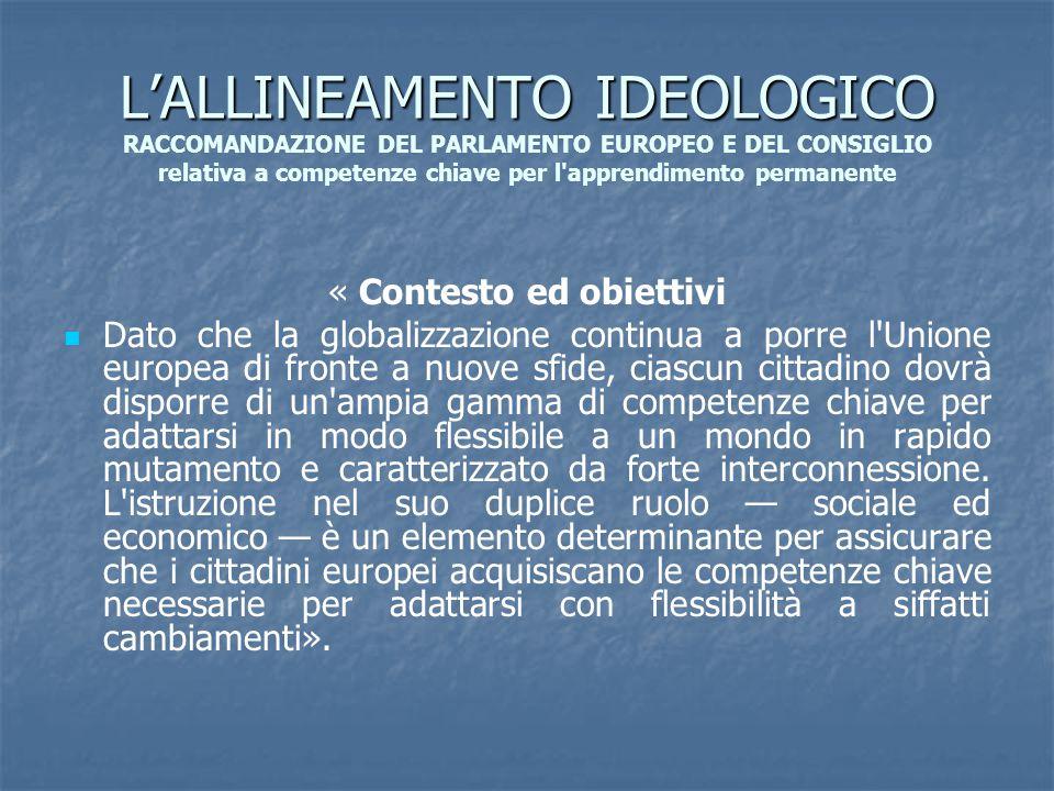 L'ALLINEAMENTO IDEOLOGICO L'ALLINEAMENTO IDEOLOGICO RACCOMANDAZIONE DEL PARLAMENTO EUROPEO E DEL CONSIGLIO relativa a competenze chiave per l'apprendi