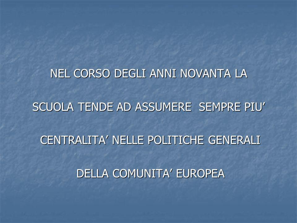 NEL CORSO DEGLI ANNI NOVANTA LA SCUOLA TENDE AD ASSUMERE SEMPRE PIU' CENTRALITA' NELLE POLITICHE GENERALI CENTRALITA' NELLE POLITICHE GENERALI DELLA COMUNITA' EUROPEA DELLA COMUNITA' EUROPEA