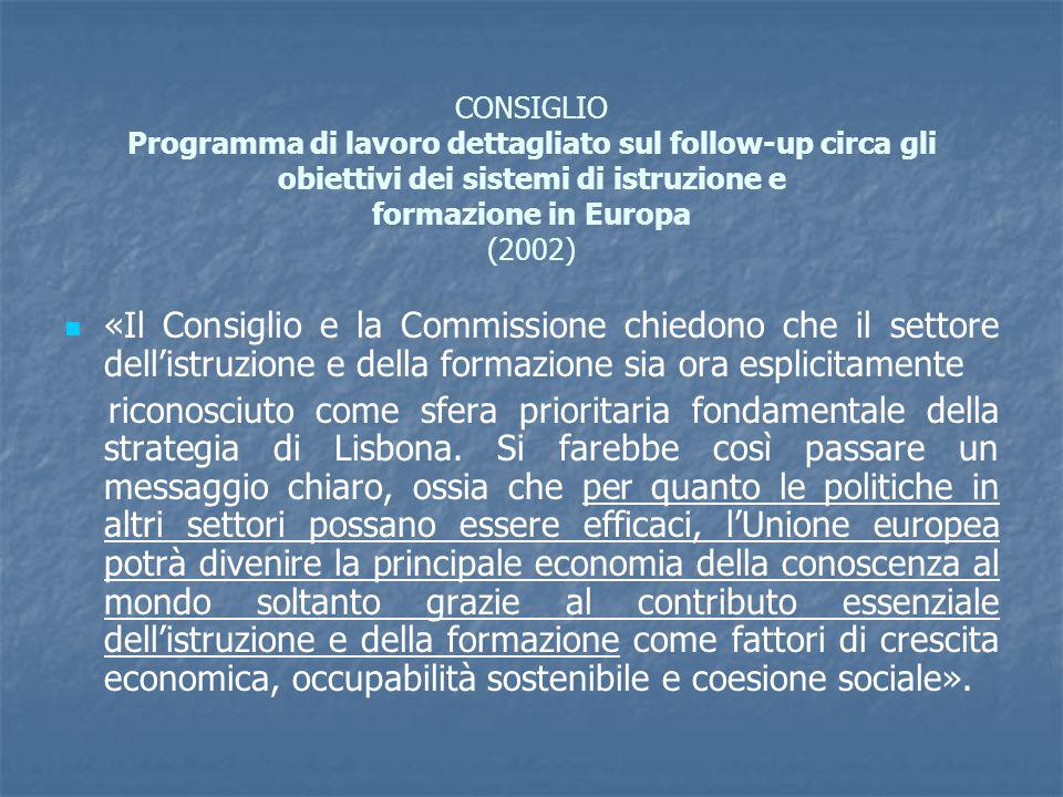 CONSIGLIO Programma di lavoro dettagliato sul follow-up circa gli obiettivi dei sistemi di istruzione e formazione in Europa (2002) «Il Consiglio e la Commissione chiedono che il settore dell'istruzione e della formazione sia ora esplicitamente riconosciuto come sfera prioritaria fondamentale della strategia di Lisbona.