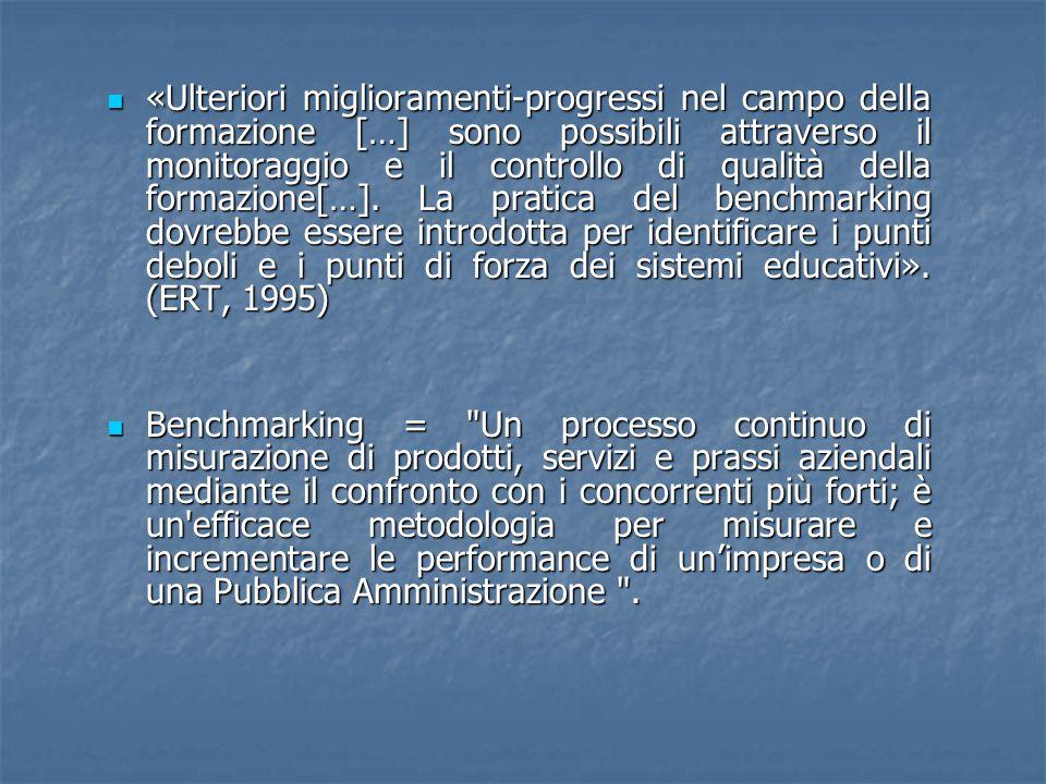 «Ulteriori miglioramenti-progressi nel campo della formazione […] sono possibili attraverso il monitoraggio e il controllo di qualità della formazione[…].