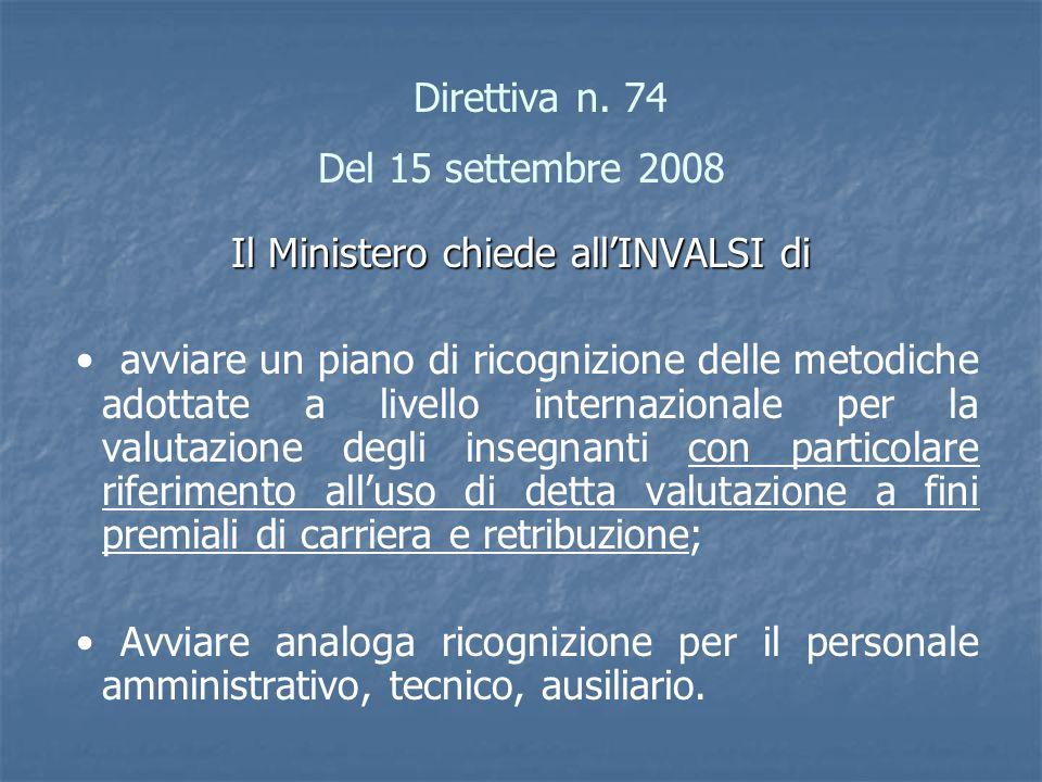 Direttiva n. 74 Del 15 settembre 2008 Il Ministero chiede all'INVALSI di avviare un piano di ricognizione delle metodiche adottate a livello internazi