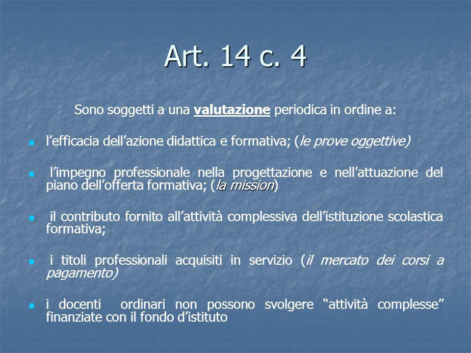 Art. 14 c. 4 Sono soggetti a una valutazione periodica in ordine a: l'efficacia dell'azione didattica e formativa; (le prove oggettive) la mission l'i