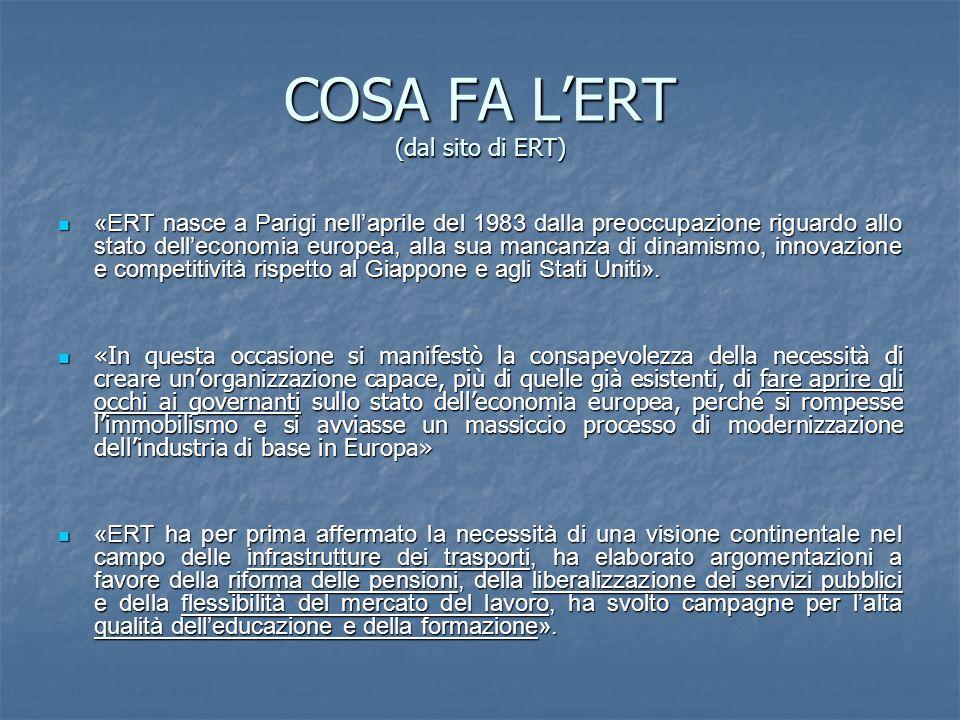 COSA FA L'ERT (dal sito di ERT) «ERT nasce a Parigi nell'aprile del 1983 dalla preoccupazione riguardo allo stato dell'economia europea, alla sua mancanza di dinamismo, innovazione e competitività rispetto al Giappone e agli Stati Uniti».