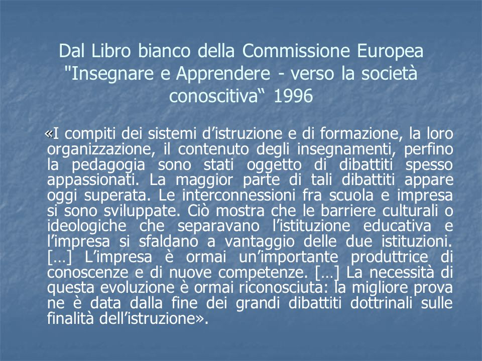 Dal Libro bianco della Commissione Europea