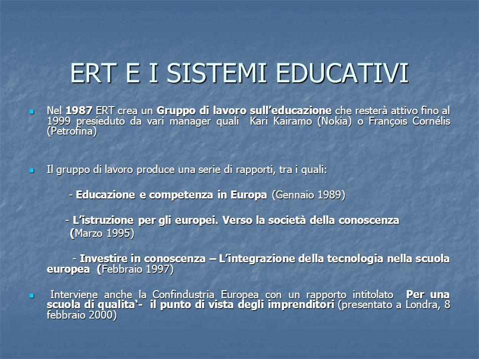 ERT E I SISTEMI EDUCATIVI Nel 1987 ERT crea un Gruppo di lavoro sull'educazione che resterà attivo fino al 1999 presieduto da vari manager quali Kari