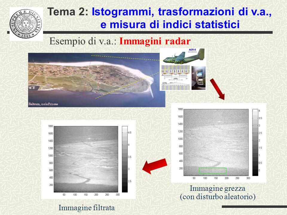 Esempio di v.a.: Immagini radar Immagine grezza (con disturbo aleatorio) Immagine filtrata Baltrum, isole Frisone Tema 2: Istogrammi, trasformazioni di v.a., e misura di indici statistici