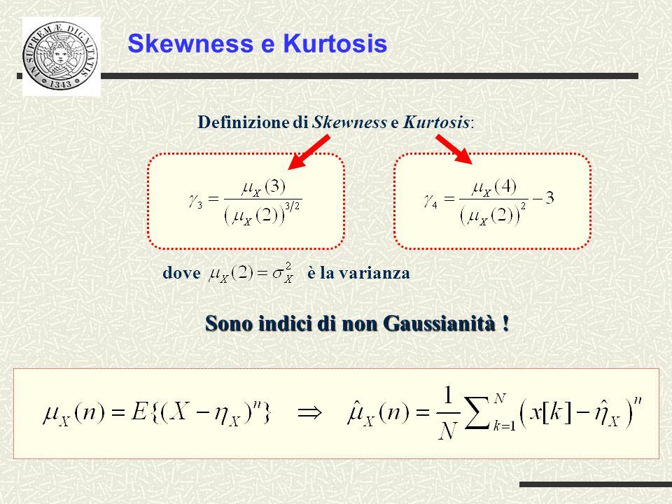 Definizione di Skewness e Kurtosis: Skewness e Kurtosis dove è la varianza Sono indici di non Gaussianità !
