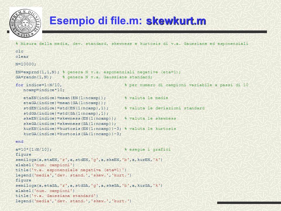 skewkurt.m Esempio di file.m: skewkurt.m % Misura della media, dev.