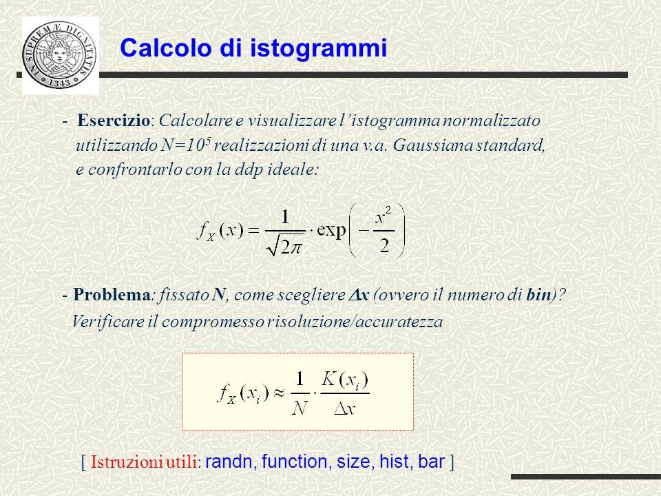 Calcolo di istogrammi - Esercizio: Calcolare e visualizzare l'istogramma normalizzato utilizzando N=10 5 realizzazioni di una v.a.