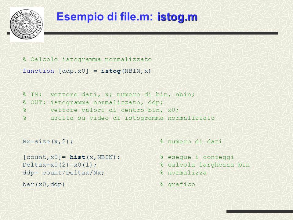 % Calcolo istogramma normalizzato function [ddp,x0] = istog(NBIN,x) % IN: vettore dati, x; numero di bin, nbin; % OUT: istogramma normalizzato, ddp; % vettore valori di centro-bin, x0; % uscita su video di istogramma normalizzato Nx=size(x,2); % numero di dati [count,x0]= hist(x,NBIN); % esegue i conteggi Deltax=x0(2)-x0(1); % calcola larghezza bin ddp= count/Deltax/Nx; % normalizza bar(x0,ddp) % grafico istog.m Esempio di file.m: istog.m