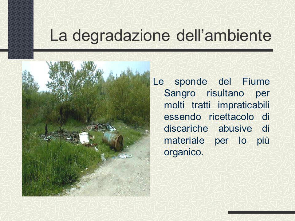 La degradazione dell'ambiente Le sponde del Fiume Sangro risultano per molti tratti impraticabili essendo ricettacolo di discariche abusive di materiale per lo più organico.