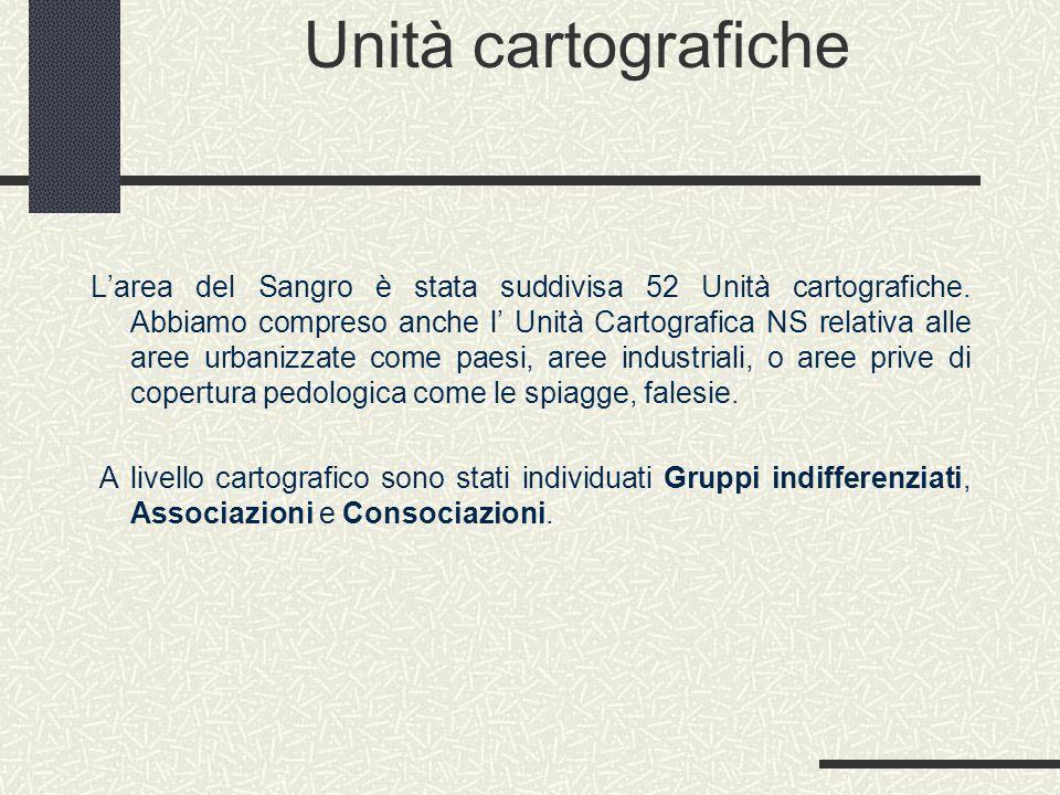 Unità cartografiche L'area del Sangro è stata suddivisa 52 Unità cartografiche.