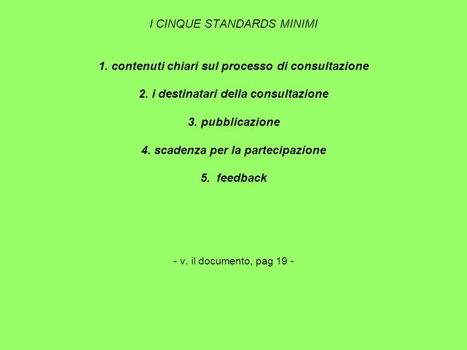 I CINQUE STANDARDS MINIMI 1. contenuti chiari sul processo di consultazione 2.