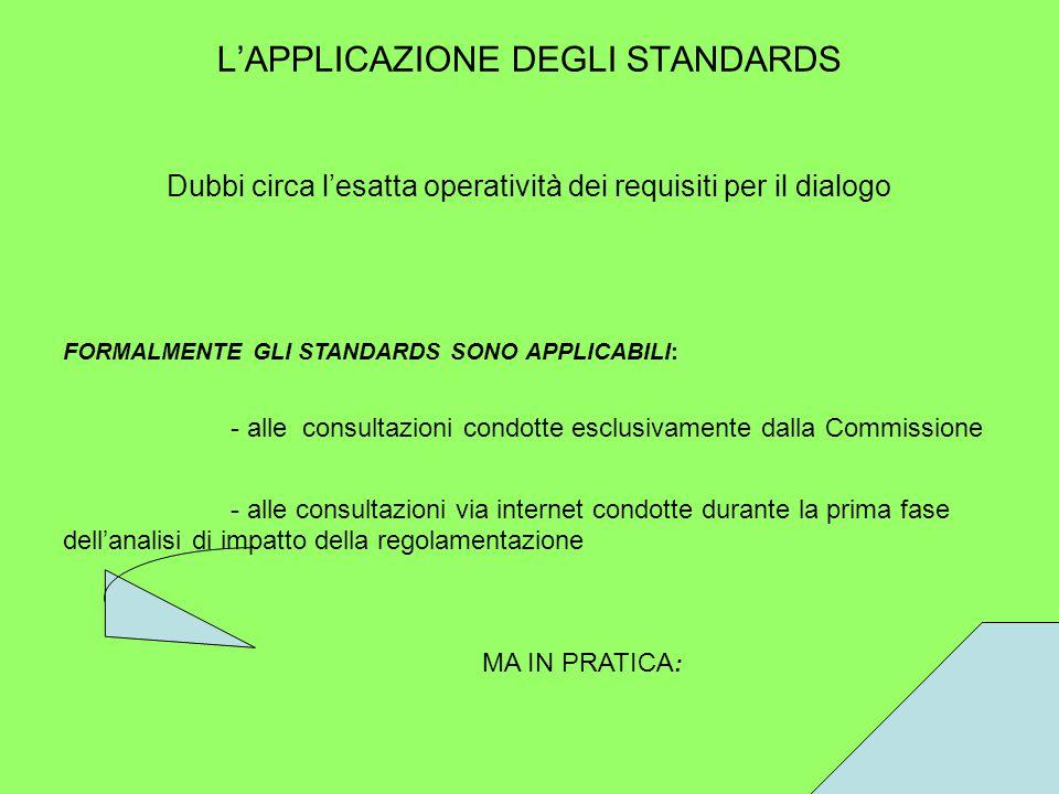L'APPLICAZIONE DEGLI STANDARDS Dubbi circa l'esatta operatività dei requisiti per il dialogo FORMALMENTE GLI STANDARDS SONO APPLICABILI: - alle consultazioni condotte esclusivamente dalla Commissione - alle consultazioni via internet condotte durante la prima fase dell'analisi di impatto della regolamentazione MA IN PRATICA :