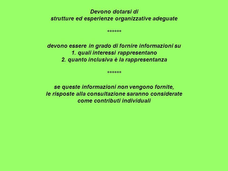Devono dotarsi di strutture ed esperienze organizzative adeguate °°°°°° devono essere in grado di fornire informazioni su 1.